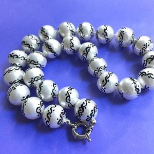 Jewelry - Sterling Silver Black & White Glass Beads
